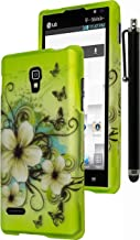 Optimus L9 Phone Case, Bastex Heavy Duty Green with White Hibiscus Flowers Design Snap On Case Cover for LG Optimus L9 P769INCLUDES STYLUS