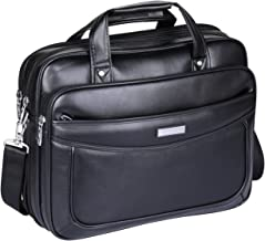Leather 16 inch Laptop Briefcase,ARON Boss Series Water Resistant Large Shoulder Bag Functional Business Handle Bag for 15.6 inch Laptop (AC1-Black)