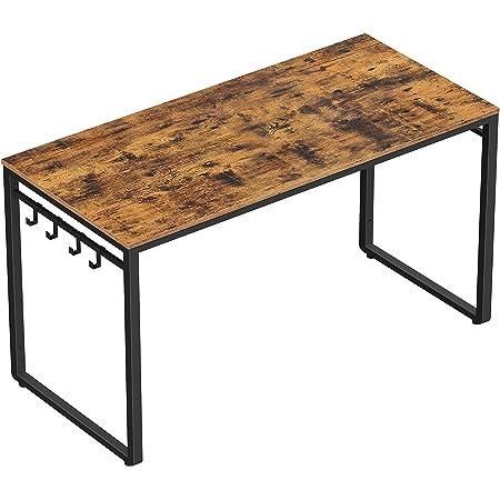 VASAGLE Bureau, Table, Poste de travail, avec 8 crochets, 120 x 60 x 75 cm, pour bureau, salon, chambre, assemblage simple, métal, style industriel, Marron Rustique et Noir LWD58X
