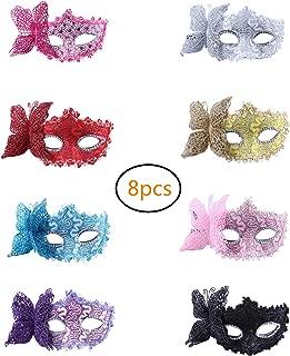 Masquerade Venetian Masks Half-face Masks Halloween Costumes 8pcs for Girls Mardi Gras Party Favors