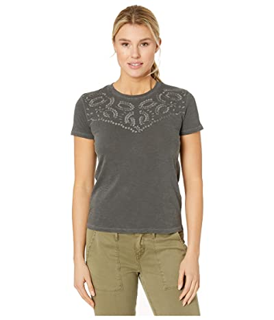 Lucky Brand Embroidered Yoke Neck Tee (Washed Black) Women