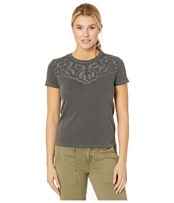 Lucky Brand  Embroidered Yoke Neck Tee (Washed Black) Womens T Shirt