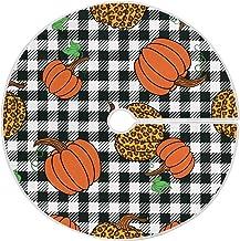 Dussdil Leopard Pumpkins Plaid Christmas Tree Skirt 35.4 Inches Autumn Harvest Maple Tartan Xmas Tree Skirts Floor Door Ma...