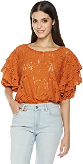 Women's Tiered Half Sleeve Scoop Neck Lace Blouse
