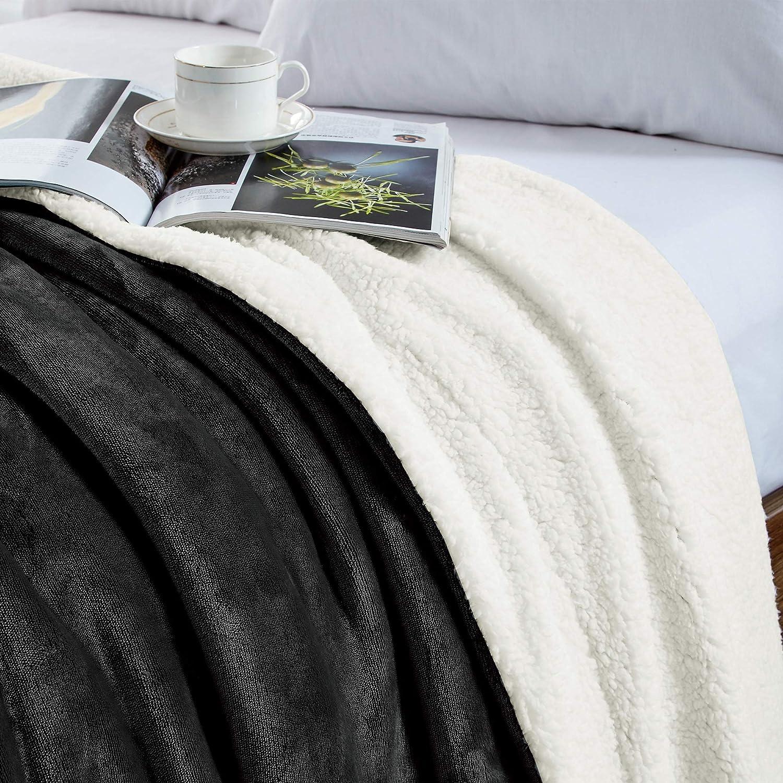 Viaje Caliente Transpirable para Hogar Oficina Suave 100/% Microfibra Manta Felpa de Sof/á Negro WAVVE Manta Sherpa Franela Reversible 130x150 cm para Cama 80