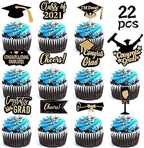 Konsait Graduation Cupcake Toppers, Glitter Black and Gold Class of Graduation Cap Diploma 2021 Cake Toppers, Graduation Party Picks for Graduation Party Favor Supplies Decorations Food Cake Decor