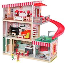 TOP BRIGHT Dollhouse with Furniture and Dolls, Wooden Doll House for Little Girls 3 4 5 Year olds, 18 Furniture with Sound...