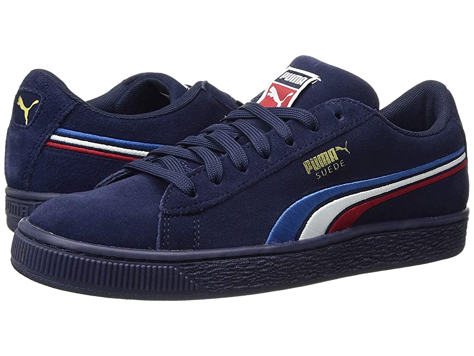 Puma Kids Suede Classic Multicolor Embossed (Big Kid) (Peacoat/Puma White/Ribbon Red/Strong Blue) Boy