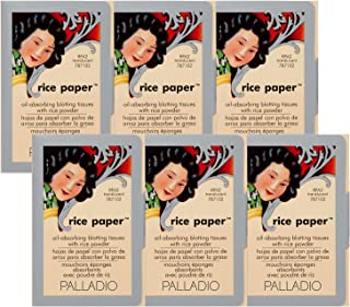 Palladio Rice Paper Tissues, Translucent, 40 Sheets (Pack of 6), Face Blotting Sheets with Natural Rice Powder Absorbs Oil...