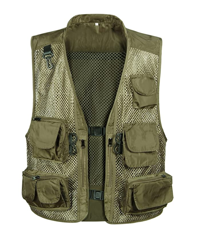 IyMoo Men's Camouflage Mesh Fishing Vest Multi Pockets Photography Outdoor Climbing Causual Tactical Vest-Multi Use Vest