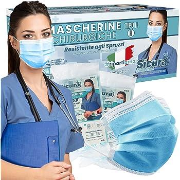 Sicura 50 Mascherine CHIRURGICHE per Adulti Certificate CE Tipo IIR BFE ≥ 98% Prodotte in Italia - Mascherina monouso con elastici e nasello regolabile - 5 confezioni da 10 [50 Pezzi] - Colore Azzurro