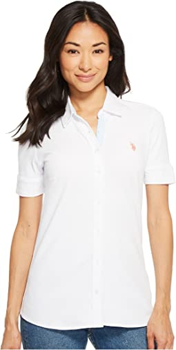 Solid Button Front Short Sleeve Shirt
