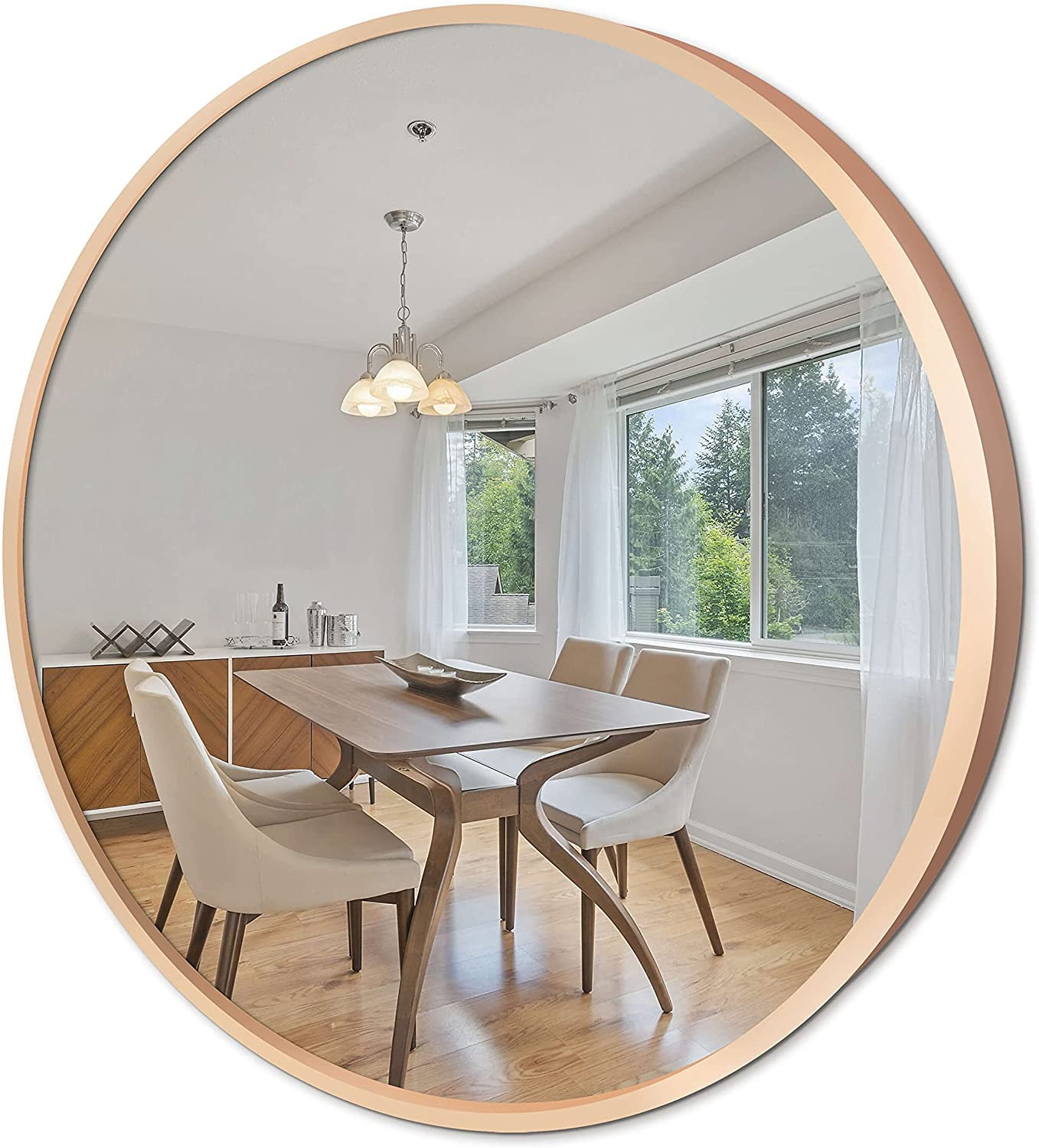 Round Wall Mirror with Metal Frame - Elegant Champagne Gold Brushed Aluminium Framed Circle Hanging Vanity Mirror for Wall Decor (32