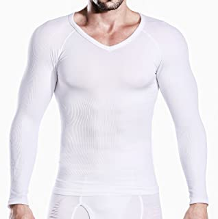Hoter Mens Slim and Tight Super Soft Compression & Slimming Shaper V-Neck Compression Shirt …