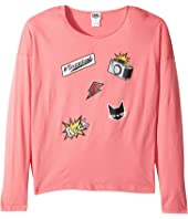 Karl Lagerfeld Kids - Long Sleeve Jersey Tee with Embossed/Patch Graphic (Big Kids)