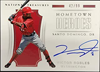 Victor Robles Autographed 2018 Panini National Treasures Hometown Heroes Card - Baseball Slabbed Autographed Cards