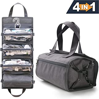4-in-1 Hanging Toiletry Bag Travel Toiletries Bag for Women & Men - Roll Up Compact Cosmetic Kit with Hook | Waterproof, TSA Approved Removable Carry On Pouches (Heather Gray)