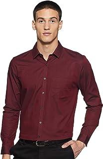Max Men's Plain Slim Fit Formal Shirt (FCAWTWI18033_Maroon L)