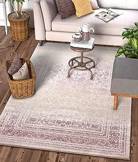 Well Woven Celine Lavender Persian Vintage Medallion 9x13 (9'3'' x 12'6'') Area Rug Purple Modern Distressed Oriental Carpet