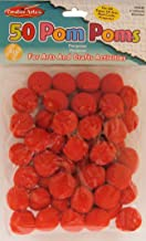 Creative Arts by Charles Leonard Pom-Poms, 1 Inch, Red, 50/Bag (69530)