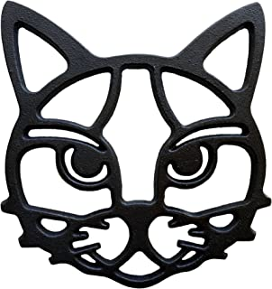 Cat Trivet - Black Cast Iron for Hot Dishes & Pots on Kitchen & Dining Table | Metal Cat Face Trivet with Feet Protect Countertops | Cat Lover Gifts & Wall Decoration 6.5
