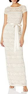Adrianna Papell Women's Corded Stripe Lace Gown