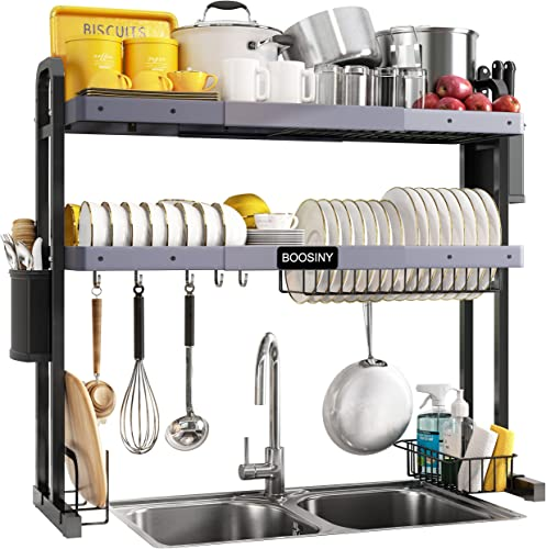 """lowest Over The Sink Dish Drying Rack, Boosiny lowest 2 Tier Stainless Steel high quality Large Adjustable Kitchen Dish Drainer(27.5""""-33.5""""), Space Saver Storage Organizer Shelf Above Counter with Utensil Holder and 6 Hooks outlet online sale"""