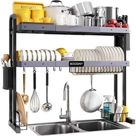 """Over The Sink Dish Drying Rack, Boosiny 2 Tier Stainless Steel Large Adjustable Kitchen Dish Drainer(27.5""""-33.5""""), Space Saver Storage Organizer Shelf Above Counter with Utensil Holder and 6 Hooks"""