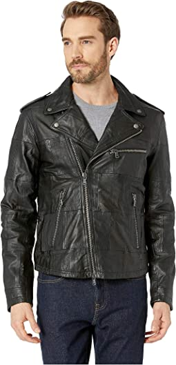 Patchwork Goat/Lamb Leather Biker Jacket