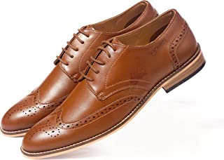 NICHE Men's Leather Casual Formal Shoes Brown Semi Brogue Lace Ups