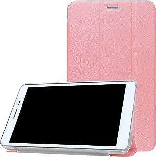 【PCATEC】 Huawei Mediapad T2 8.0 Pro 専用 三つ折 クリア スマートカバー☆超薄 軽量型 スタンド機能 PUレザーケース (ピンク)