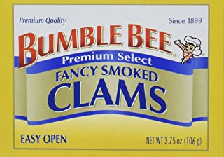 BUMBLE BEE Premium Select Fancy Smoked Clams, 3.75 Ounce Cans (Case of 12), Oysters Canned, High Protein, Keto Food and Keto Snacks, Gluten Free, Canned Food