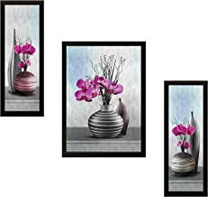 SAF UV Textured ' Flower ' Print Framed Painting Set of 3 for Home Decoration – Size 35 x 2 x 50 cm