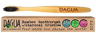 DAGUA Eco-friendly Bamboo Toothbrush with Charcoal Bristles BPA-free in ecofriendly packing (soft bristles - 1 count)