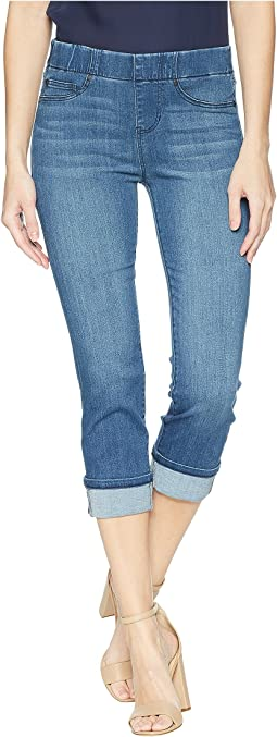 Liverpool - Petite Chloe Wide Cuffed Pull-On Crop in Premium Silky Soft Stretch Denim in Harlow