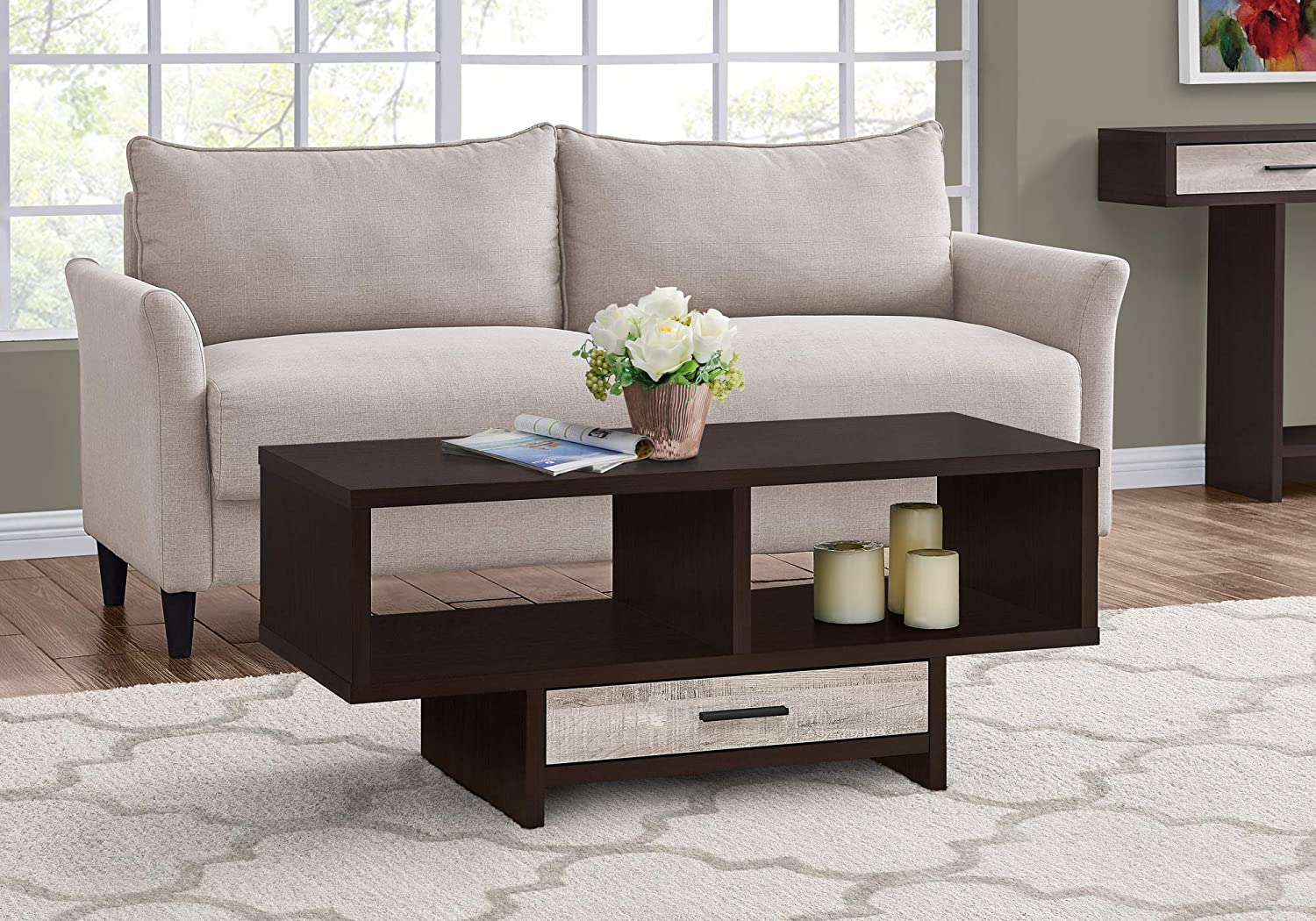 Monarch Specialties Drawer & Shelves Rectangular Cocktail Accent Coffee Table, 43