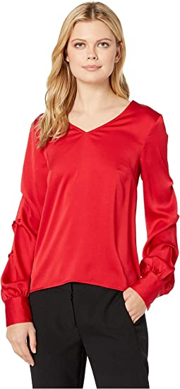Puffed Long Sleeve V-Neck Blouse w/ Tucks