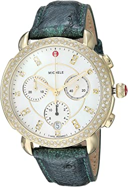 Michele Sidney Diamond Gold Green Ostrich Watch