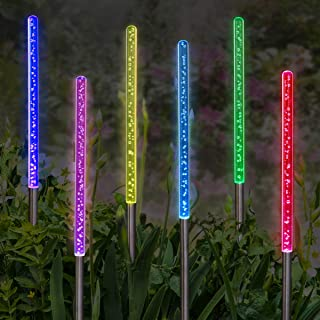 Exhart Solar Acrylic Bubble Changing Color Yard Stakes, Set of 6 Color Changing Garden Stakes, Bubble Light Solar Stake, LED Sticks Ground Stakes, 23
