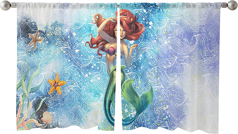 Sheer Window Curtain famous Panels Ocean Mermaid Starfish Girl Cor Sexy Popular popular