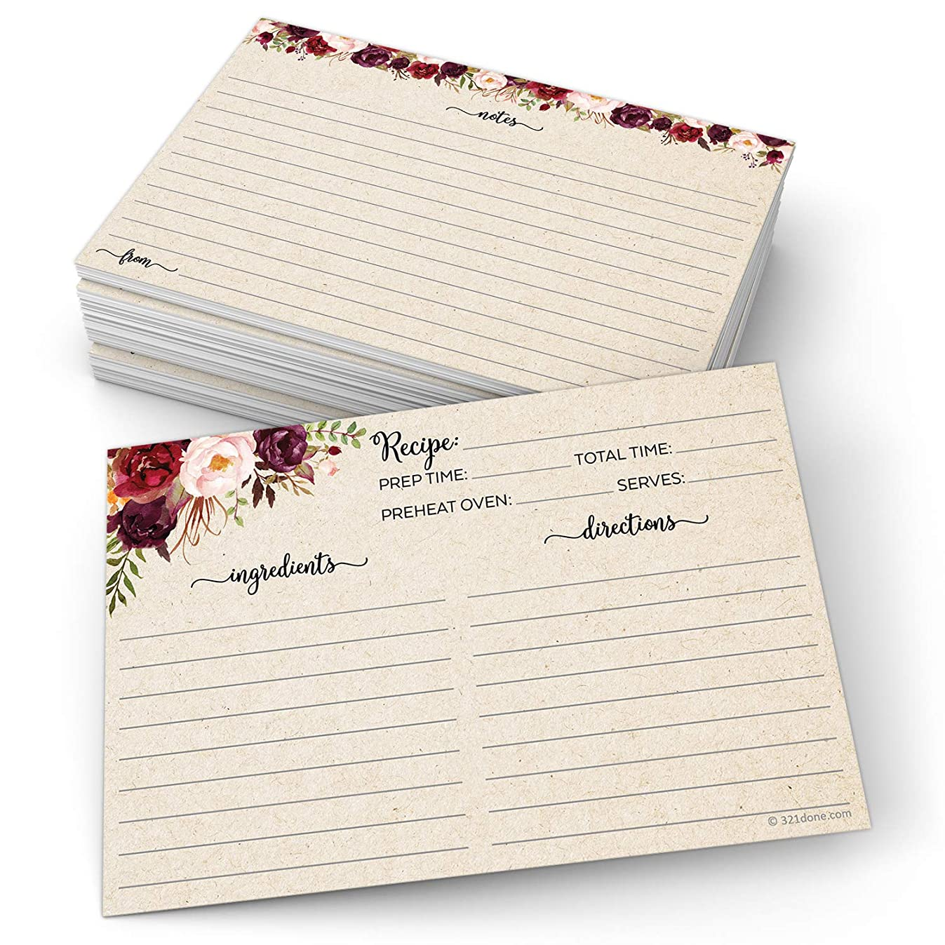 321Done Floral Recipe Cards (Set of 50) Rustic Large 4x6 - Double Sided Premium Card Stock - Made in USA - Dark Red Watercolor Roses, Kraft Tan Notes From