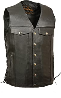 Men's Leather Side Lace Vest w/ Denim Style Chest Pockets