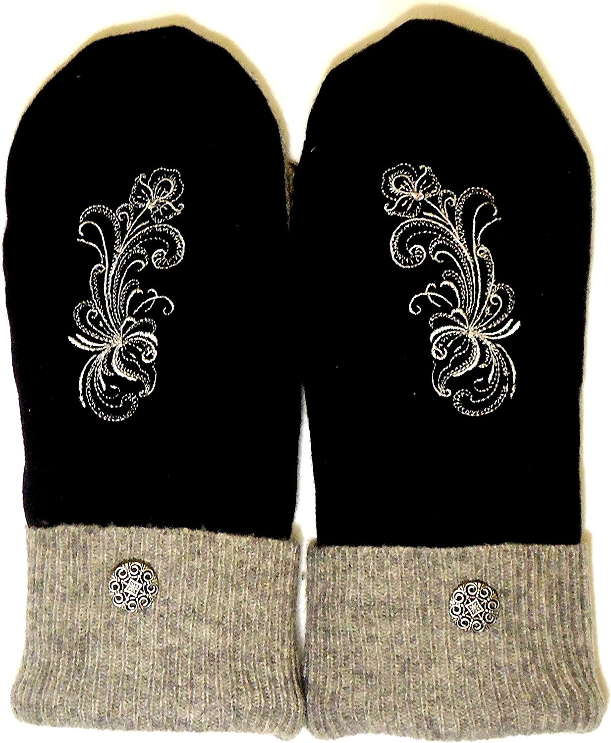 Integrity Designs Sweater Mittens, 100% Wool, Black and Gray with Polar Fleece Lining, Rosemaling Folk Art Motif Embroidery, Adult Size Medium/Large Ladies, Contrasting Button