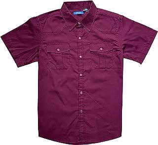 Boy's Casual Short Sleeve Snaps Plaid Button Down Shirt