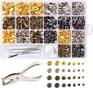 Dorhui 240 Set Leather Rivets, Double Cap Rivet with 7 Pcs Fixing Tools Including 180 Set Rivet Metal Press Studs and 60 Set Leather Button Kit for Leather, Coat, Jacket, Jeans, Bag