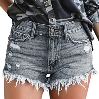 KLJR Women Cut Off Ripped Distressed Summer Belt Low Waisted Denim Shorts Jeans Hot Pants