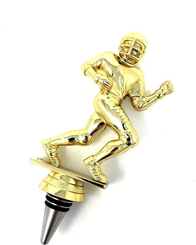 Football Wine Bottle Stopper Handmade With Stainless Steel Base And Repurposed Trophy Top