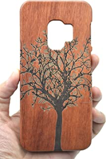 PhantomSky Stylish Carved Pattern Wooden Case for Samsung Galaxy S9 Plus / S9+, Premium Quality Handmade Natural Wood Hard Case Non-Slip Shockproof Design Protective Cover - Rosewood Tree