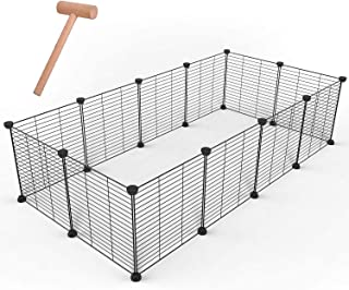 GULIQ Pet Playpen Metal Pet Playpen Animal Fence Cage Expandable DIY Wire Cage Kennel Dog Hutchfor for Small/Medium Bunny ...