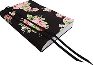 6 Inch Trade Paperback Book Cover 6x9 to 5.5x8.5, PINK ROSES Stretch Fabric Book Cover for Paperback or Hardcover Books and Journals, Small Bible Cover for Women